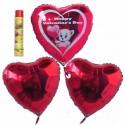 Bouquet 10, Helium-Luftballons, Happy Valentine's Day, Bärchen