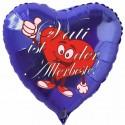 Vati ist der Allerbeste! Herzluftballon, blau, 45 cm, aus Folie zum  Vatertag ohne Helium