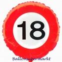 Luftballon aus Folie zum 18.Geburtstag, Verkehrsschild, Zahl 18, mit Helium-Ballongas