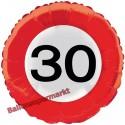 Luftballon aus Folie zum 30.Geburtstag, Verkehrsschild, Zahl 30, mit Helium-Ballongas