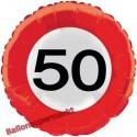 Luftballon aus Folie zum 50.Geburtstag, Verkehrsschild, Zahl 50