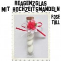 Reagenzgläser mit Hochzeitsmandeln, Transparent mit Naturkorken, verziert mit roter Rose, Tüll und Schleife
