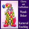Großer Clown mit Luftballons, Wanddekoration, Bühnendekoration zu Karneval und Fasching