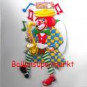 Karnevals-Clown mit Saxophon, Wanddekoration, Bühnendekoration zu Karneval und Fasching
