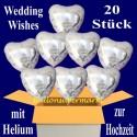 Wedding Wishes Folienballons 20 Stück Herzluftballons mit Helium zur Hochzeit