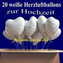 Loving Hearts Folienballons 20 Stück Herzluftballons in Weiß mit Helium zur Hochzeit