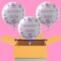 3 Welcome Baby Rund-Luftballons mit Helium zu Babyparty, Geburt und Taufe