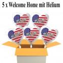 Welcome Home Luftballons, USA Flagge, Folienballons Herzen, 45 cm, mit Ballongas, 5 Stück