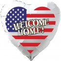 Welcome Home Luftballon USA Flagge, Folienballon Herz, 45 cm, mit Ballongas