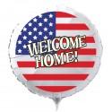 Welcome Home Luftballon USA Flagge, Folienballon Rund, 45 cm, ohne Ballongas