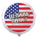 Welcome Home Luftballon USA Flagge, Folienballon Rund, 45 cm, mit Ballongas