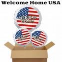 Welcome Home Luftballon-Bouquet USA Flagge, 1 Folienballon 71 cm u. 2 Folienballons 45 cm, mit Ballongas