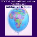 PVC-Folien-Luftballon, Insider, Weltkugel, Planet Erde, inklusive Ballongas