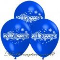 Willkommen, Motiv-Luftballons, Blau, 3 Stück