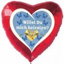 Luftballon- Herz, Willst Du mich heiraten? Inklusive Helium