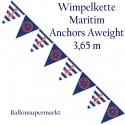 Wimpelkette Anchors Aweigh, Dekoration, Mottoparty Maritim 3,65 Meter