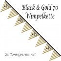 Wimpelkette Black and Gold 70, Dekoration 70. Geburtstag