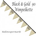 Wimpelkette Black and Gold 90, Dekoration 90. Geburtstag