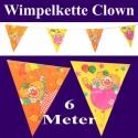 Wimpelkette Clown, 6 Meter