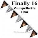 Wimpelkette Finally 16, 10 m, Dekoration 16. Geburtstag