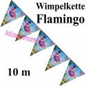 Wimpelkette Flamingo, Dekoration, Mottoparty Hawaii, 10 Meter
