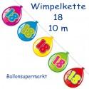 Wimpelkette Balloonshape 18, Dekoration 18. Geburtstag