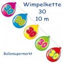 Wimpelkette Balloonshape 30, Dekoration 30. Geburtstag