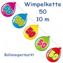 Wimpelkette Balloonshape 50, Dekoration 50. Geburtstag
