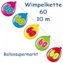 Wimpelkette Balloonshape 60, Dekoration 60. Geburtstag