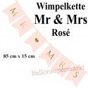 Wimpelkette Mr & Mrs, rosa, Dekoration zur Hochzeit