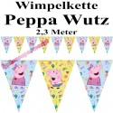 Wimpelkette Peppa Wutz  zum Kindergeburtstag, 2,3 m