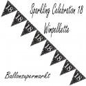 Wimpelkette Sparkling Celebration 18, Dekoration 18. Geburtstag