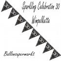 Wimpelkette Sparkling Celebration 30, Dekoration 30. Geburtstag