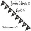 Wimpelkette Sparkling Celebration 50, Dekoration 50. Geburtstag