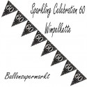 Wimpelkette Sparkling Celebration 60, Dekoration 60. Geburtstag