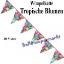 Wimpelkette tropische Blumen, Dekoration, Mottoparty Hawaii, Beachparty, 10 Meter