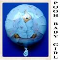 Winnie the Pooh Luftballon zu Geburt und Taufe eines Mädchens, Pooh Baby Girl, Ballon mit Ballongas Helium