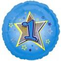 Luftballon aus Folie mit Helium, 1. Geburtstag, Blau, Junge