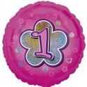 Luftballon aus Folie mit Helium, 1. Geburtstag, Rosa, Mädchen