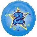 Luftballon aus Folie mit Helium, 2. Geburtstag, Blau, Junge