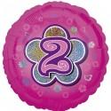 Luftballon aus Folie mit Helium, 2. Geburtstag, Rosa, Mädchen