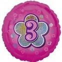 Luftballon aus Folie mit Helium, 3. Geburtstag, Rosa, Mädchen
