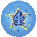 Luftballon aus Folie mit Helium, 4. Geburtstag, Blau, Junge