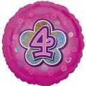 Luftballon aus Folie mit Helium, 4. Geburtstag, Rosa, Mädchen