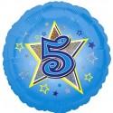 Luftballon aus Folie mit Helium, 5. Geburtstag, Blau, Junge