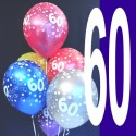 Luftballons, Latexballons Happy 60 Birthday / gemischte Farben