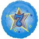 Luftballon aus Folie mit Helium, 7. Geburtstag, Blau, Junge