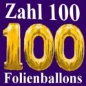 Zahl 100 aus Luftballons zum 100. Geburtstag (Inklusive Helium)