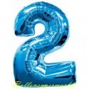 Zahlen-Luftballon aus Folie, 2, Zwei, Blau, 100 cm groß