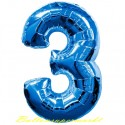 Zahlen-Luftballon aus Folie, 3, Drei, Blau, 100 cm groß